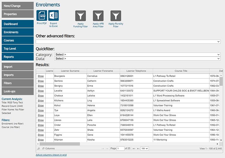ALDAS Enrolments screenshot