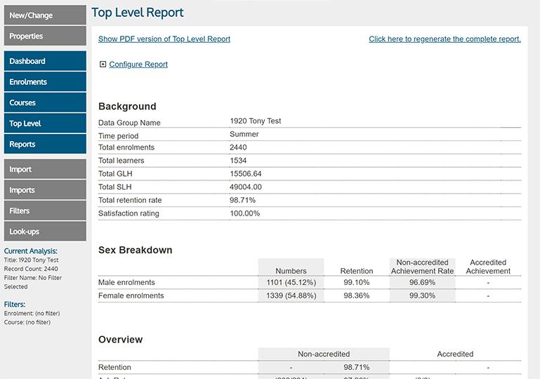 ALDAS Report Screenshot