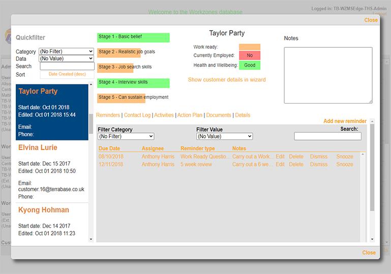 Work Zone Customer Screenshot