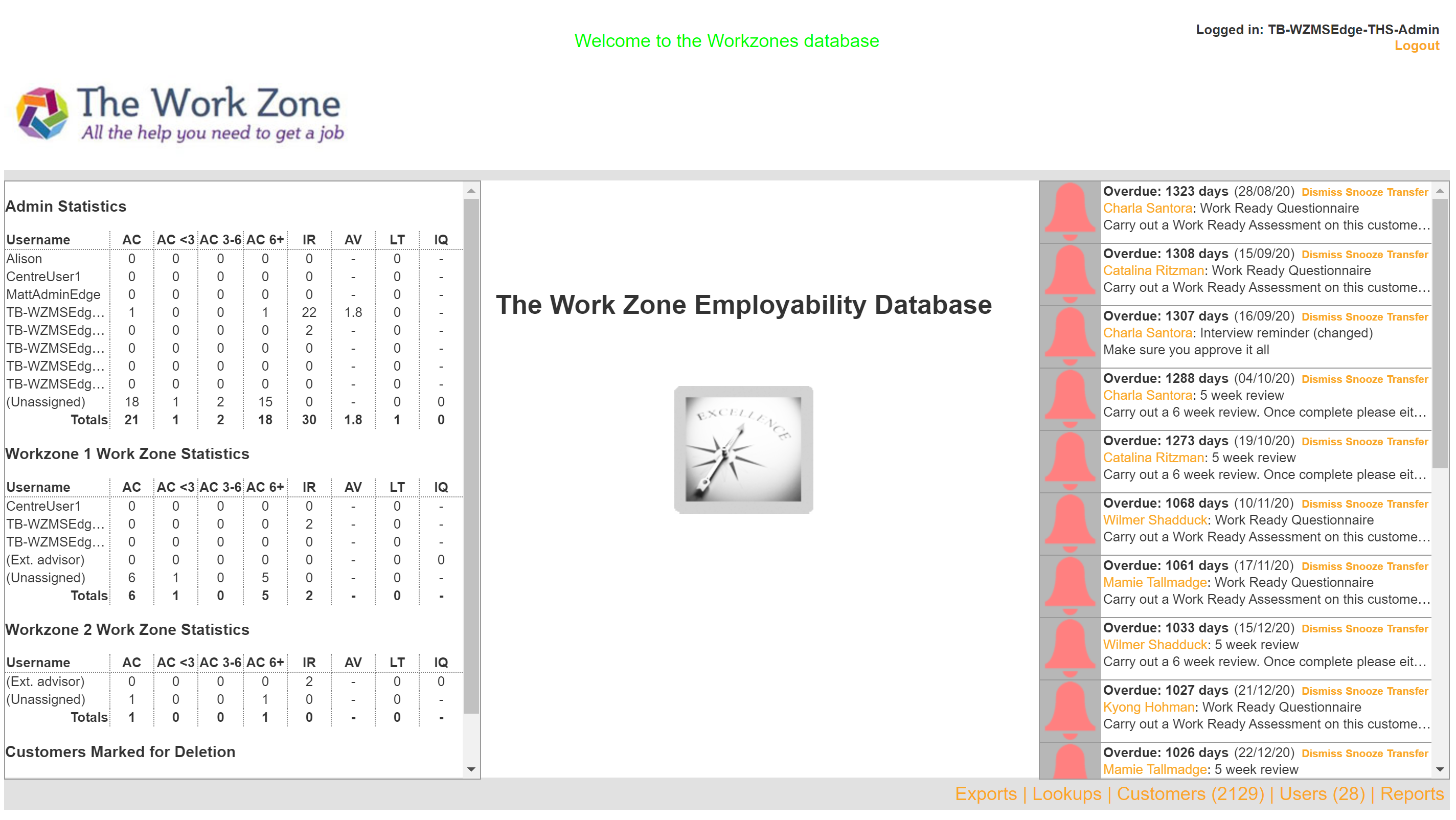 Work Zone Dashboard Screenshot